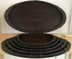Djati wooden trays set of 6 pieces, oval ascending - Indonesia