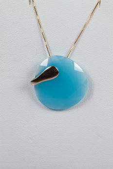18 kt yellow gold earrings with pendant made from blue agate - 44 cm