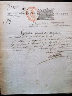 Autograph letter signed from General GIRARDON, army of NAPOLEON in Rome then in Naples, year X (1802)