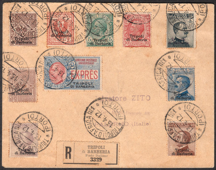 Barbary Tripoli, 1909/1915 - Overseas Post Offices, 9 stamps (Ordinary Post and Express Mail) on registered mail from Tripoli to Palermo