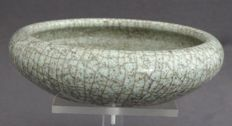 Celadon brush washer with ash decoration - China - late 19th century