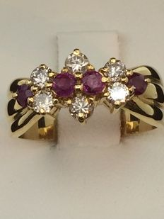 750 gold ring, ruby, diamonds, size 54