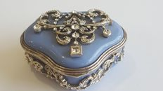 Jewellery Box Ornated with stones,  20th century, England , Silver plated Metal ,