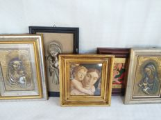Lot of 5 framed pictures of the Madonna, from early to late 20th century