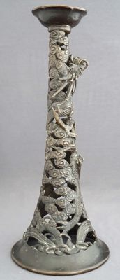Large bronze candlestick with dragon scene - China - around 1920