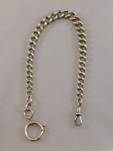 Antique Sterling silver watch chain - England - around 1920 - length 28.5 cm