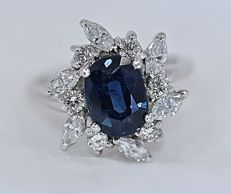 Cartier original branded ring with untreated sapphire and diamonds –  size: 20 (IT)
