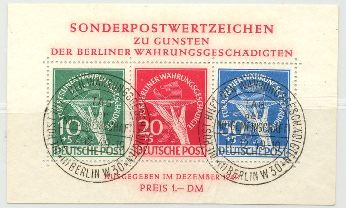"Berlin - 1949 - ""Issue for the victims of currency reform in block form"" with plate errors I & II"" - Michel Block 1 II with Schlegel photo certificate"