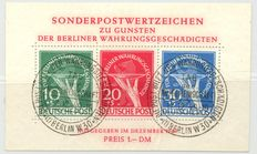 "Berlin 1949 - ""Issue for war victims in form of a block"" with printing errors I & II"" – Michel Block 1 II, with photo certificate Schlegel"
