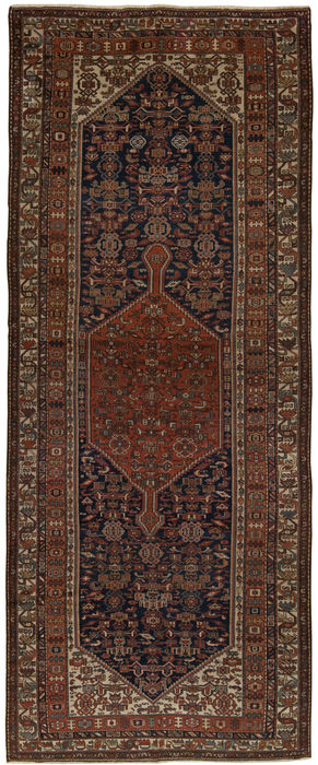 (Dimensions: 500 x 200 cm) Very old authentic rug from 1890-1920. Exceptionally rare original Malayer Kurd Baft, Persian, Iran, with Certificate of Authenticity (Galleria Farah 1970)