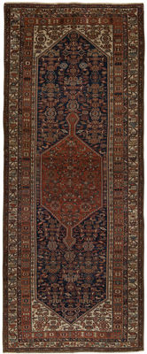Very old authentic rug from 1890-1920. Exceptionally rare original Malayer Kurd Baft, Persian, Iran, with Certificate of Authenticity (Dimensions: 500 x 200 cm) (Galleria Farah 1970)