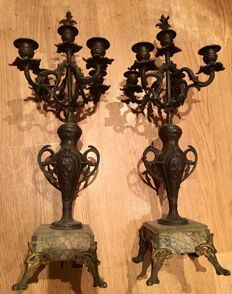 Pair of Candelabras in pewter and marble - France - approx.  1900