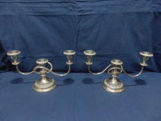 Vintage Set of Two Ianthe Silver Plated 3 Candle Candelabra Silver Plate Candlestick,1950´s/70´S,England
