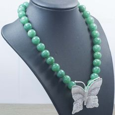 Sterling silver (925/1,000) and green jade necklace with large butterfly - 45 cm