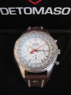 DETOMASO Firenze Retro DT1073-B  Mens Watch Chronograph Stainless Steel Silver Leather Strap 10 ATM New