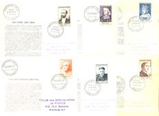 France 1954 - Complete series of first-day envelopes (FDC) - Yvert 968-1007