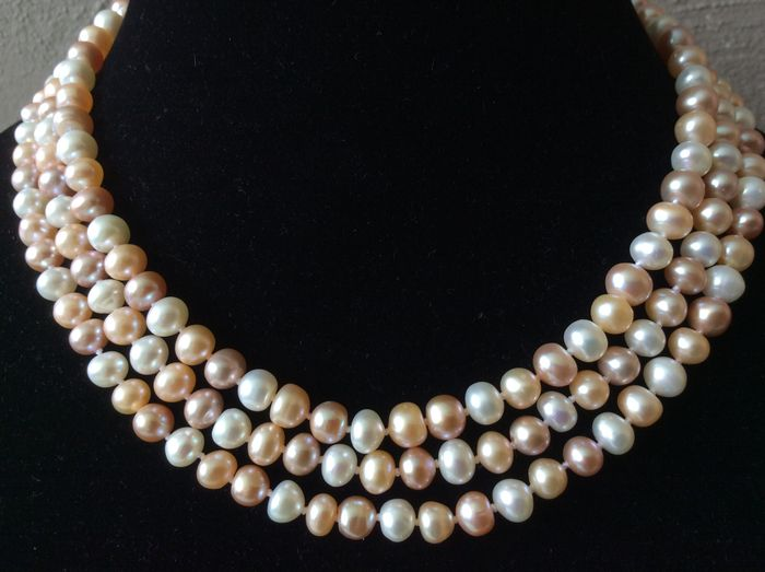 Necklace with pastel-coloured baroque pearls – 130 cm / 51""