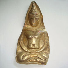 Late Angkor period Gold sitting Buddha's votive plaque - 95 mm