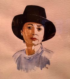 Lara (Catalan School 20th century) - A Barcelona Lady with hat