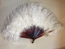 Antique French fan with ostrich feathers, ca 1900, Paris