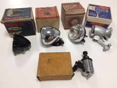 Lot of vintage bike lights, from various years, 4 headlights and1 dynamo - Leko - Philidyne - Hassia - Melas - Reflex