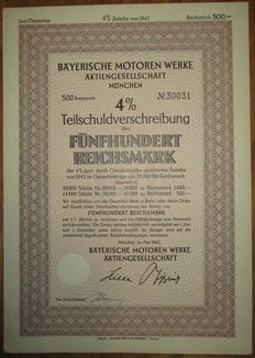 Germany - Bayerische Motoren Werke AG - 4% Bond 500 Reichsmark Munich 1942 - stock certificate of famous BMW car manufacturer