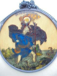Glass painting with image of Saint Christophorus in stained glass, from the workshop of Bernhardt, signed, Ravensburg ca. 1942-1950.