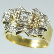 Retro bicolour gold diamond (unisex) ring - anno 1940