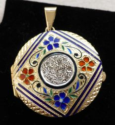 Gold pendant with brilliants - approx. 0.25 ct - enamel