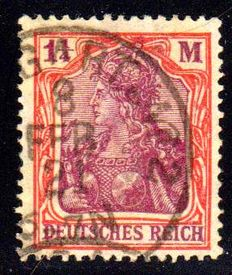 German Empire/Reich - Germania  1 1/4 Mark with four pass water marks Michel 151 Y