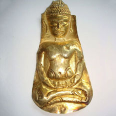 Sitting gold Buddha's votive plaque - 110 mm -published