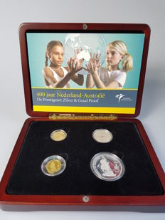 The Netherlands and Australia - Prestige set 2006 ´400 years of the Netherlands - Australia (4 coins) silver and gold in cassette