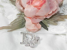 Christian Dior brooch with glittering crystals and vintage buttonhole blossom made of 100 % silk - France