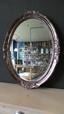 Large size oval mirror - Venetian- manually gilded - facet cut glass