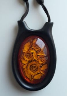 Designed  ebony necklace with pendant  100 % natural Baltic amber, ca 1970
