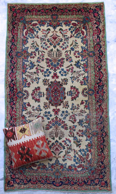 Handknotted -  Isfahan Rug - 216cm x 117cm - Persia/Iran - Circa 1960