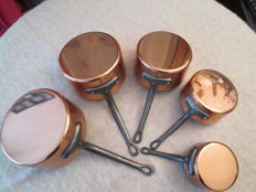 Set of 5 red copper pans, interned lined with alloy, new, brand:  TOURNUS, origin: France, French manufacture, professional quality, never used.