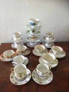 Collection of 16 cups and saucers, several brands