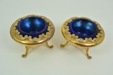 Pair of silver and silver gilt salt cellars, United Kingdom, 1900