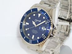 Lowell water resistant watch – 20 atm helium release valve – Blue dial and bezel – Men's wristwatch