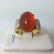 18 kt gold, agate and diamonds ct 0,12 ring  - size 7.5