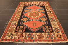 Collector's item, beautiful hand-knotted oriental carpet, old Malayer, old rug, 129 x 19 cm