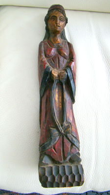 Religious in sculpted wood- height = 48 cm