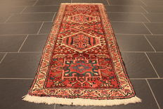 Rare beautiful antique Persian rug around 1960, hand-knotted circa 1, Heris Heriz, plant colours, 70 x 170 cm runner, from € 1, no reserve price