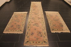 Beautiful Art Deco China Oriental carpet bed surrounding, made in China around 2000, dimensions 70 x 350cm 2 x 70 x 150cm