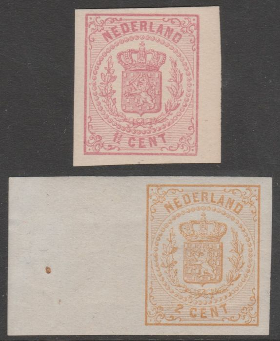 Netherlands 1869/1871 - State coat of arms imperforated - NVPH 16v + 17v, with certificate