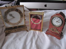 Lot of 3 small travel clocks, Jaeger and Dep a voir, France circa 1960.