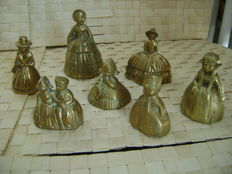 Seven copper table bells, 20th century, Netherlands