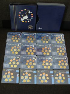 "Europe – Year collections, first 12 Euro countries ""First official issue of the Euro"" + Slovenia, Cyprus, Malta and Slovakia (16 different ones)"
