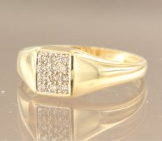 18 kt yellow gold ring set with diamonds, 0.18 ct, ring size 18 (56)